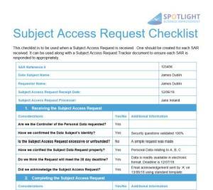 Subject Access Request Tracker Template Spotlight Business Improvement